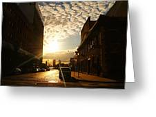 Summer Sunset Over A Cobblestone Street - New York City Greeting Card