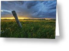 Summer Thunderstorm And Fencepost Greeting Card