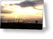 Sun Behind The Clouds On The Beach Greeting Card