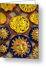 Sun Faces On The Island Of Capri Italy Greeting Card