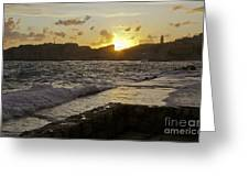 Sun Going Down Over Dubrovnik Greeting Card
