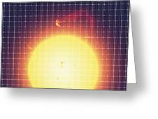 Sun Reflected In A Solar Panel Greeting Card