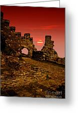 Sun Set Castle Greeting Card