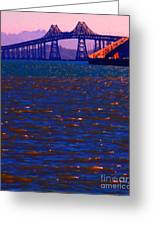 Sun Setting Beyond The Richmond-san Rafael Bridge - California - 5d18435 Greeting Card by Wingsdomain Art and Photography