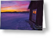 Sun Setting Over Winter Landscape And A Small House Greeting Card