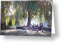 Sunday Afternoon By The Fontain Greeting Card