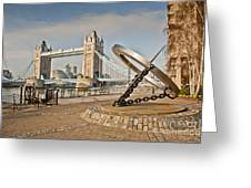 Sundial At Tower Bridge Greeting Card by Donald Davis