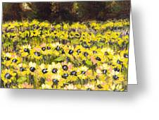 Sunflower Field Series W Silver Leaf By Vic Mastis Greeting Card