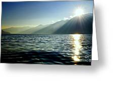 Sunlight Over A Lake With Mountain Greeting Card