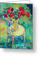Sunny Impressionistic Rose Flowers Still Life Painting Greeting Card