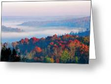 Sunrise And Fog In The Cumberland River Valley Greeting Card