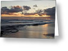 Sunrise At Bamburgh Beach Greeting Card