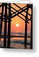 Sunrise At Folly Pier Greeting Card