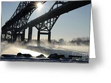 Sunrise Blue Water Bridges Fog Greeting Card