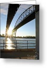 Sunrise Blue Water Bridges Greeting Card