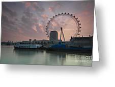 Sunrise London Eye Greeting Card by Donald Davis