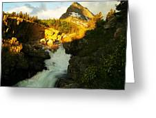 Sunrise On A Waterfall At Glacier  Greeting Card