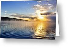 Sunrise On Foggy Lake Greeting Card