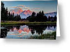 Sunrise On The Tetons Greeting Card