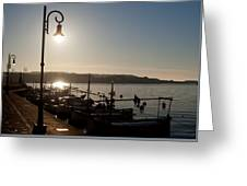 sunrise - First dawn of a spanish town is Es Castell Menorca sun is a special lamp Greeting Card