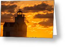 Sunrise Pier Fishermen Greeting Card
