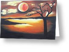Sunset - Oil Painting Greeting Card by Rejeena Niaz