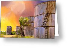 Sunset And Abandoned Oil Tanks Greeting Card