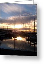 Sunset And Boats Greeting Card