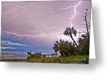 Sunset And Lightning Greeting Card