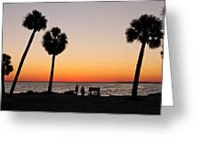 Sunset And Palms And Two Greeting Card