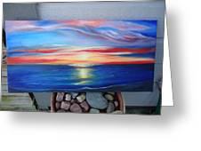 Sunset And Stone Greeting Card