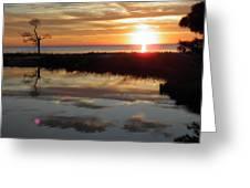 Sunset And Tidal Pool Cape Charles Va Greeting Card