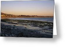 Sunset At Low Tide On Ventura Beach Greeting Card