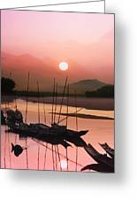 sunset at Mae Khong river Greeting Card
