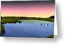 Sunset At Sandpiper Pond Greeting Card