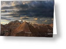 Sunset At The Badlands Greeting Card