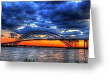 Sunset At The Bayonne Bridge Greeting Card