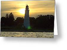 Sunset At The Ft. Gratiot Lighthouse Greeting Card