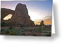 Sunset At Turret Arch Greeting Card