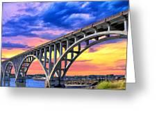 Sunset At Yaquina Bay Greeting Card