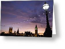 Sunset Behind Big Ben And The Houses Greeting Card