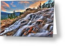 Sunset Falls Landing Greeting Card