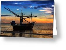 Sunset Fisherman Boat Huahin Thailand Greeting Card