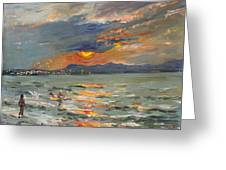 Sunset In Aegean Sea Greeting Card