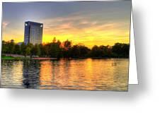 Sunset In Hermann Park Greeting Card