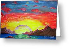 Sunset Greeting Card by Kostas Dendrinos