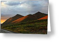 Sunset Light Hitting The Mountains Greeting Card