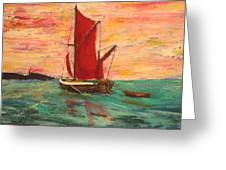 Sunset Near Sheppy Greeting Card by Peter Edward Green
