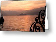 Sunset On Lake Como Greeting Card