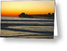 Sunset On Oceanside Beach Greeting Card